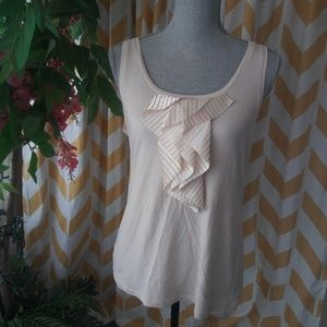 Ann Taylor size L cream color ruffle front tank